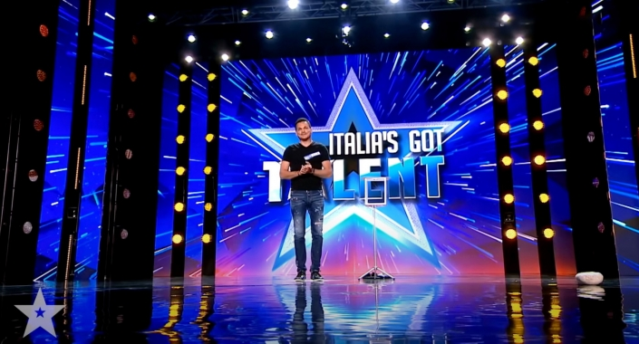 Marco Miele on stage at Italia'a Got Talent